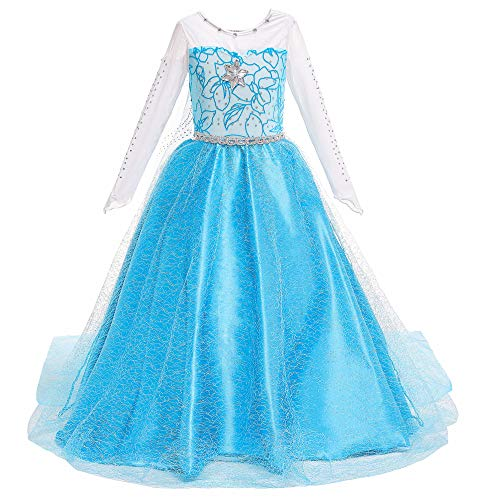 Princess Dresses Girls Costumes Birthday Party Halloween Costume Cosplay Dress up for Little Girls(Q89,100cm) Blue