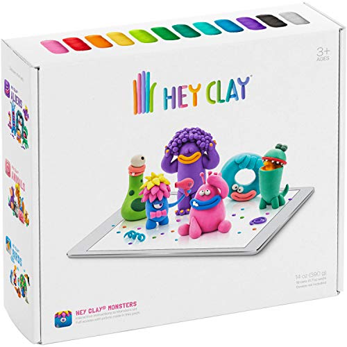 Hey Clay Monsters - Colorful Kids Modeling Air-Dry Clay, 18 Cans with Fun Interactive App
