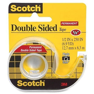 12 Pack of Scotch Permanent Double Sided Tape, 1/2 x 250 Inches 3-Pack Caddy(3136) = to 36