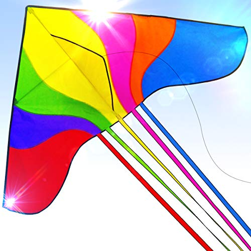 Easy to Fly Large Nylon Bird Kite for Kids and Adults Great for Beach Trip and Outdoor Activities Perfect for Beginners Flies in Light Breeze Flying String Line Included Big Flyer Childrens Toys