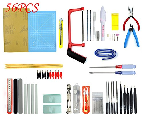 BXQINLENX Professional 56 PCS Gundam Model Tools Kit Modeler Basic Tools Craft Set Hobby Building Tools Kit for Gundam Car Model Building Repairing and Fixing(H)