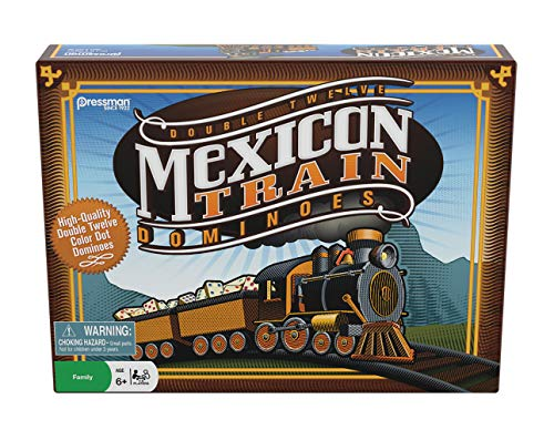 Pressman Mexican Train Dominoes Beautifully Colored Dominoes - Set Includes Train Markers and Hub, Generic, 5