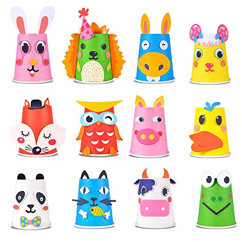 Here Fashion Paper Crafts and Arts Kit 12 Pack Animal Preschool Crafts Toys for Toddler Kids