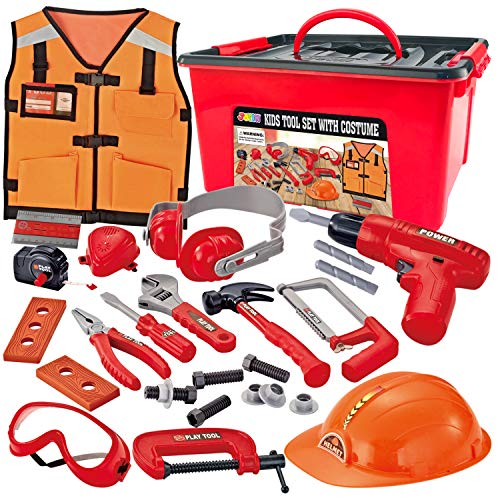JOYIN 24 Pcs Construction Tool Accessories Playset Construction Pretend Play Toy Kit Including Construction Worker Costume and Electric Drill Toy in Storage Box