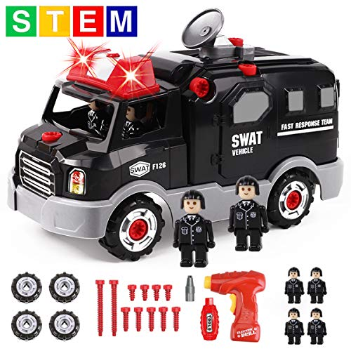 GILOBABY Take Apart Police Car with 4 Policemen, STEM Toy DIY Car with Drill Tool, Lights and Sounds, 32 Piece, Build Your Own Car for Boys & Girls Age 3