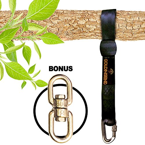 (US Stock) Easy Hang (10FT) Tree Swing Strap - Holds 2800lbs. New Extra LongTree Swing Strap Hanging Kit 10 ft Long for Outdoor Swing with Bonus Spinner Hook - Fast & Easy Way to Hang Any Swing Set