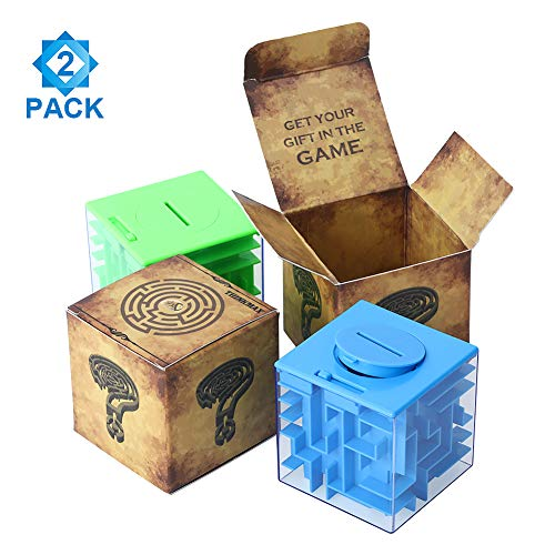 Acekid Money Maze Bank, 2 Pack Puzzle Coin Box Set, Money Saving Cube Toys for Kids and Adults (Blue&Green)