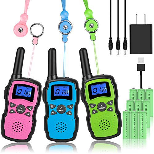 Wishouse Rechargeable Walkie Talkies for Kids with Charger Battery, Two Way Radio Family Talkabout for Adult Cruise Ship Long Range, Outdoor Camping Hiking Fun Toys Birthday Gift for Girls Boys 3 Pack