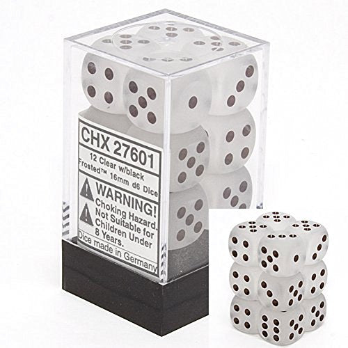Chessex Dice D6 Sets: Frosted Clear with White - 16Mm Six Sided Die (12) Block of Dice