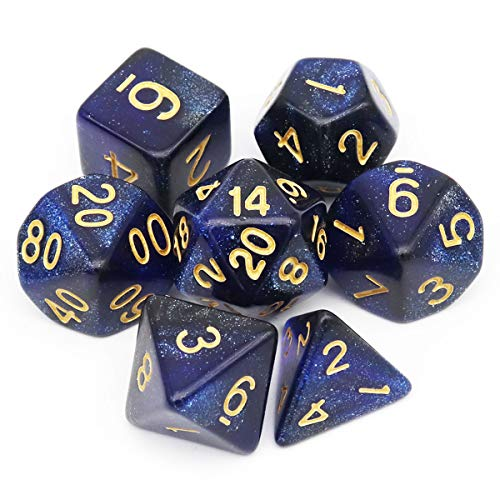 Haxtec Glitter DND Dice Set 7PCS Polyhedral D&D Nebula Dice for Roleplaying Dice Games as Dungeons and Dragons (Blue Black Nebula)