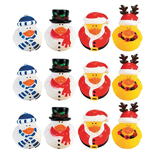 Fun Express Vinyl Holiday Rubber Duckies | 12 Count | Great for Party Favors, Children's Birthday Bash, Holiday Celebrations