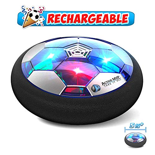 Hover Soccer Ball Boy Toys Rechargeable, Toddlers Kids Indoor Air Soccer Ball Floating LED Light Up, Power Kick Disc Fun with Foam Bumper (No AA Battery Needed) Gift For Boys Girls Age 2 3 4 5 6 7 8 9