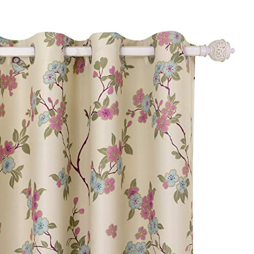 BGment Printed Blackout Curtains for Bedroom with Birds Floral Patterns - Grommet Thermal Insulated Room Darkening Curtains for Living Room, Set of 2 Panels (52 x 45 Inch, Beige)