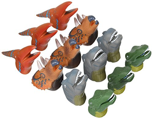 Rhode Island Novelty Realistic Deluxe Toy Dinosaur Finger Puppets - One Dozen