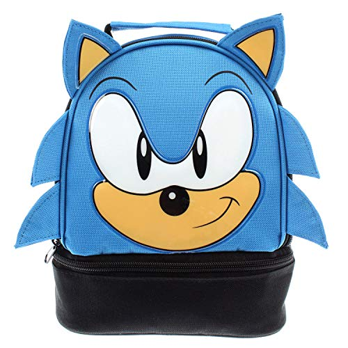 Sega Sonic the Hedgehog Lunch Bag Big Face Dual Compartment Lunch Box Kit