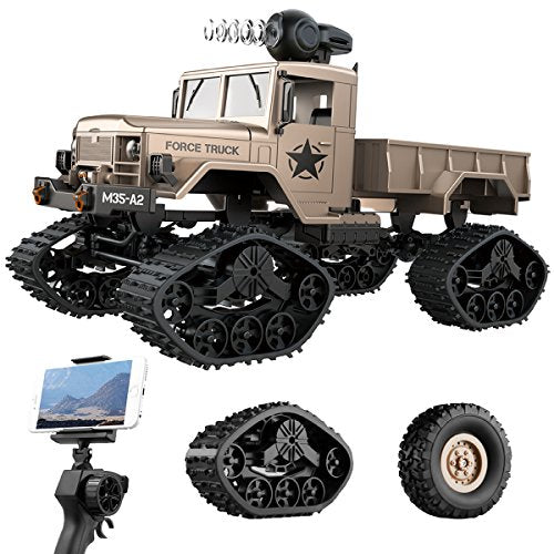 REMOKING RC Hobby Toys Military Truck Off-Road Sport Cars 4WD 2.4Ghz All Terrain Vehicle with Wi-Fi HD Camera Gifts for Kids and Adults