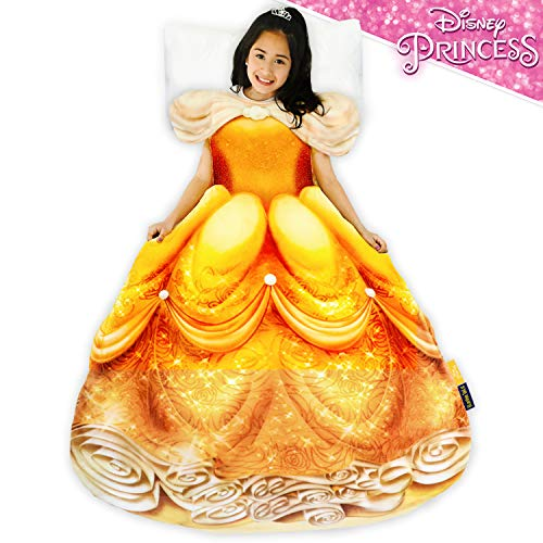 Blankie Tails | Disney Princess Dress Wearable Blanket - Double Sided Super Soft and Cozy Princess Minky Fleece Blanket - Machine Washable Fun Disney Blanket for Kids (Belle)