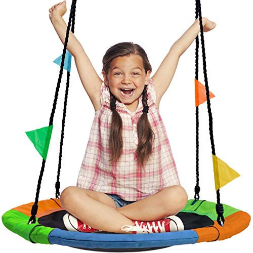"Sorbus Saucer Tree Swing in Multi-Color Rainbow – Kids Indoor/Outdoor Round Mat Swing – Great for Tree, Swing Set, Backyard, Playground, Playroom – Accessories Included (Round – 24"")"