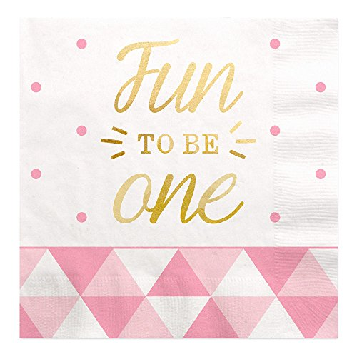 Big Dot of Happiness Fun to be One - 1st Birthday Girl with Gold Foil - Party Luncheon Napkins (16 Count)