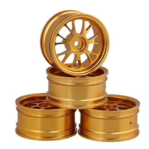 Mxfans 4PCS RC Golden Y-Shape Wheel Rim Aluminum Alloy Dia 52mm Fits for 1/10 On-Road Car & Drift Car