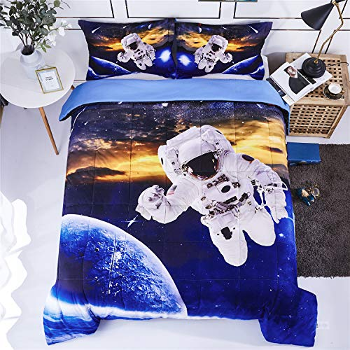 HIG 3D Bedding Set 2pc Twin Size Outer Space Astronaut Print Comforter Set with One Matching Pillow Cover -Box Stitched Quilted Duvet -General for Men and Women Especially for Children (P24,Twin)