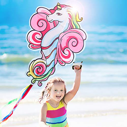 SMALL FISH Kite for Kids and Adults Easy to Fly, Unicorn Kite for Girls Best for Beach, Outdoor Play, and Summer Activities, Large 41 Inch Pink Kite for Toddlers and Beginners with Line and Spool