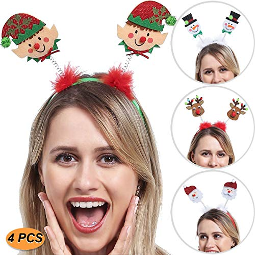 ADJOY Christmas Headbands for Kids Boys Girls Teenagers Women Men - Santa's Little Helper Headwear Snowman Santa Claus Reindeer Headband - One Size Fits All (4 PCS) Green
