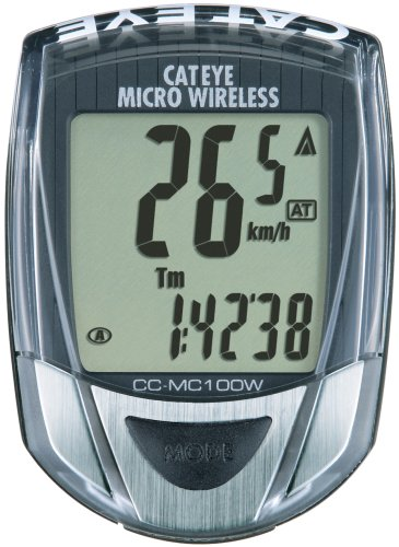 Cateye CC-MC100W Micro Wireless 10-Function Bicycle Computer (Black)