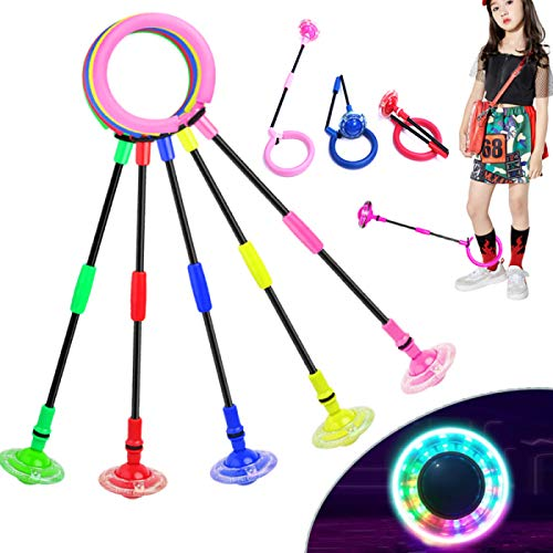 Fine Deal Foldable Flashing Jumping Ring Children Colorful Ankle Skip Jump Ropes Sports Swing Ball for Kids Boys Girls Toy (Green)