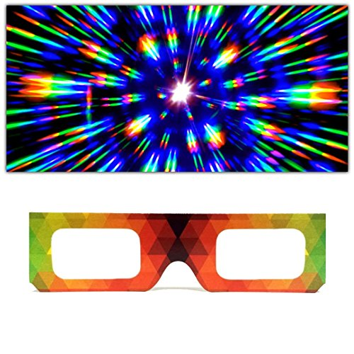 GloFX Paper Cardboard Diffraction Glasses – Geometric Rainbow – 100 Pack