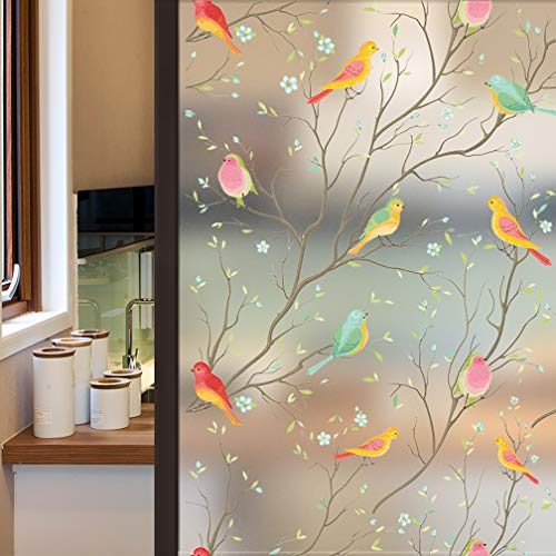 Coavas Privacy Window Film Opaque Non-Adhesive Frosted Bird Window Film Decorative Glass Film Static Cling Film Bird Window Stickers for GF-WF-90-2B Home Office 17.7In. by 78.7In. (45 x 200Cm)