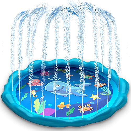 heytech Sprinkler for Kids, Splash Pad, and Wading Pool for Learning Children芒聙聶s Sprinkler Pool, 60芒聙聶芒聙聶 Inflatable Sprinkler Summer Toys Water Toys, Outdoor Swimming Pool for Babies, Toddlers, Kids
