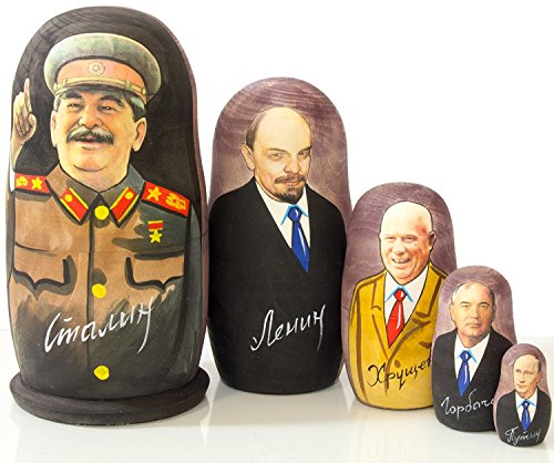 craftsfromrussia Nesting Doll - Russian Leaders (6.75``(5 Dolls in 1), Joseph Stalin)
