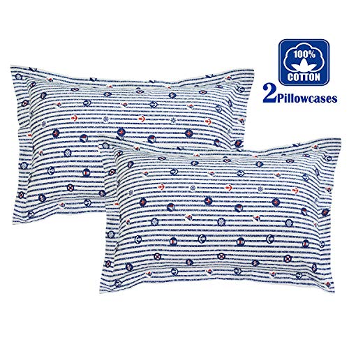 Brandream Navy Striped Pillow Cases Set of 2 Standard Size 100% Cotton Kids Teen Adults Coastal Nautical Pillow Covers