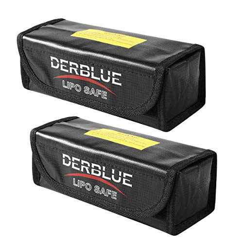 DerBlue 2pcs Fireproof Explosionproof Lipo Battery Safe Bag Lipo Battery Guard Safe Bag-Black (185x75x60mm)