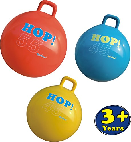 SueSport Hopper Ball Kit, Pump Included, Hop Ball, Hoppity Hop, Sit and Bounce, Jumping Ball, 22in/55cm, Yellow