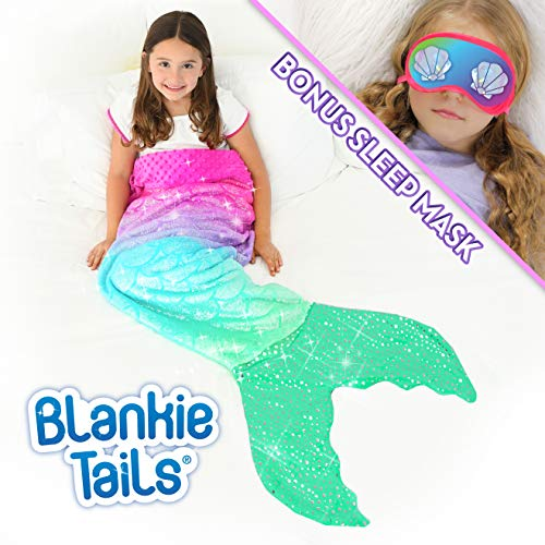 Blankie Tails | Mermaid Tail Blanket - Double Sided Cozy Mermaid Minky Fleece Blanket - Machine Washable Fun Wearable Blanket for Kids (Pink/Aqua Glitter with Sleep Mask)