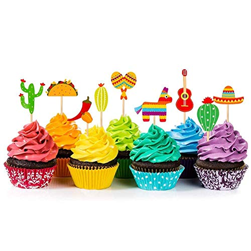 36 Pcs Fiesta Cupcake Topper Mexican Theme Cake Decoration for Mexican Themed Cactus Donkey Taco Pepper Sombrero Mustache Party Decorations