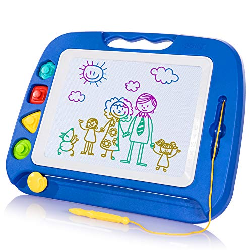 SGILE Magnetic Drawing Board Toy for Kids, Large Doodle Board Writing Painting Sketch Pad, Blue