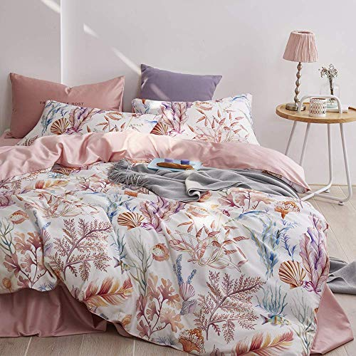 Floral Bedding Duvet Cover Twin Fish Teens Comforter Cover Twin with Hidden Zipper Coral Girls Bedding Sets Twin Cotton Duvet Cover Super Soft Women Bedding Set Twin Sea Quilt Cover Pink, No Comforter
