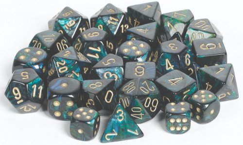 Chessex Dice d6 Sets: Scarab Jade with Gold - 12mm Six Sided Die (36) Block of Dice