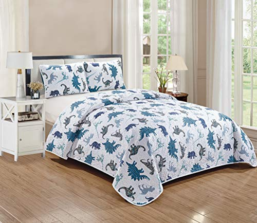 Better Home Style White Blue and Grey Dinosaur Dinosaurs Jurassic Park World Kids/Boys/Toddler 3 Piece Coverlet Bedspread Quilt Set with Pillowcases # Dino Kingdom (Full/Queen)