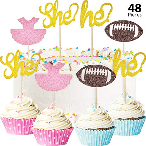 48 Pieces Gender Reveal Cupcake Toppers Tutu Football Cupcake Toppers Glitter Gender Reveal Party Cake Decorations for Baby Shower Party Accessory