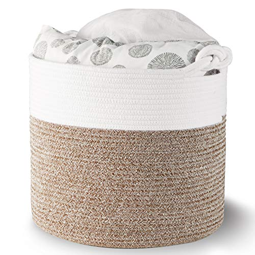 "Polarduck Cotton Rope Basket 16"" x 15"" x 14"", Baby Laundry Basket, Laundry Hamper, Woven Blanket Basket, Nursery Bin Organizer, Toys Storage Basket with Lucky Knots Handle, (Natural White & Jute)"