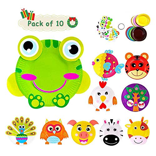 Here Fashion Pack of 10 Paper Plate Art Kit for Kids Toddler Crafts Art Toys - Transform Simple Paper Plates into Friendly Animals, Perfect for Craft Parties, Groups and The Classroom (A)