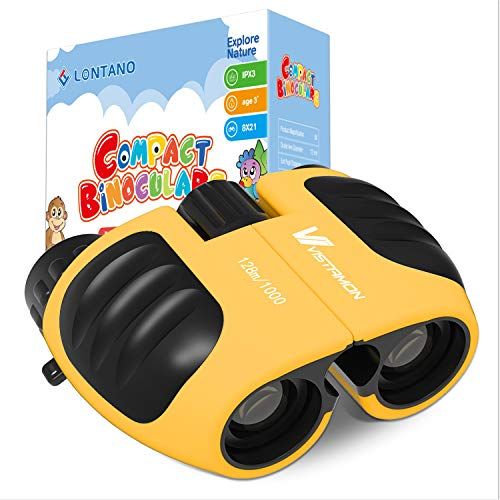 Compact Shock Proof Binoculars for Kids 8x21 with High-Resolution Real Optics, Best Gift for Boys & Girls Toys 3-12 Year Old (Yellow)