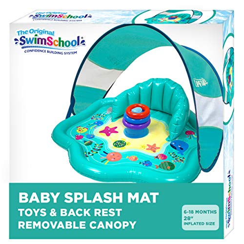SwimSchool Splash Play Mat, Inflatable Kiddie Pool with Backrest and Canopy for Babies & Toddlers, Includes Three Toys