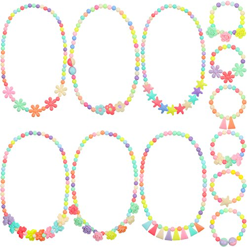 Bememo 6 Sets of Princess Necklace Bracelet Play Jewelry Costume Necklaces Dress up Jewelry