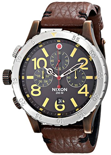Nixon Men's A3631625 48-20 Stainless Steel Chronograph Watch with Leather Band
