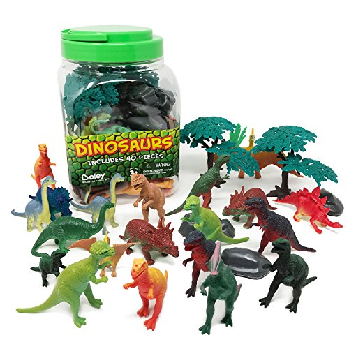 Boley 40Piece Big Bucket Toys-Tub of Educational Dinosaur Toy Playset with T-Rex, Velociraptor & More-Small, Multicolor